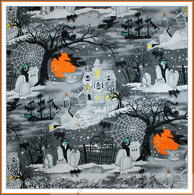 BonEful Fabric Cotton Quilt Dark Night Cat Moon Orange Scenic Halloween FQ SCRAP - Halloween Cat Fabric
