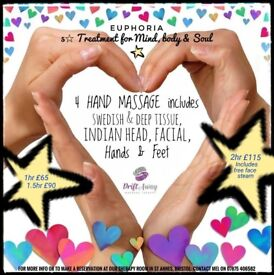 4 HAND MASSAGE (2 therapists) £65 includes Swedish, Deep Tissue, Indian Head, Facial, hands & Feet