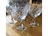 Set of 4 hand made full lead Tudor crystal glasses