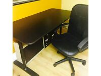 Large Black Solid Table & Computer Chair