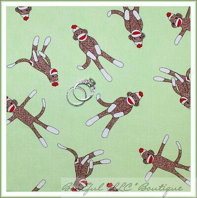 BonEful Fabric FQ Cotton MODA Sock Funky Monkey Red Green Brown Quilt Baby Xmas