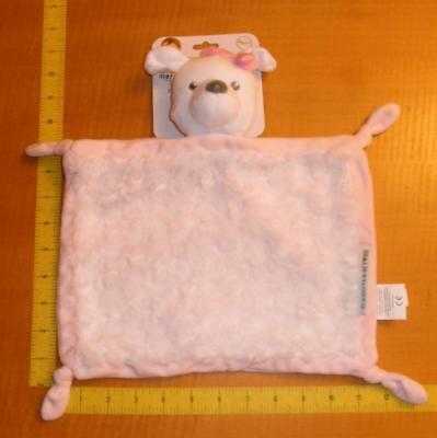 New Blankets & Beyond Pink white Dog Swirl Adorable NuNu Security Blanket Lovey