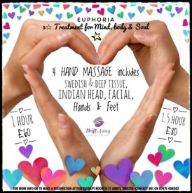 4 HAND MASSAGE: £60 includes Swedish, Deep Tissue, Indian Head, Facial, hands & Feet 💖Euphoria💖