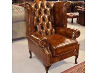 Brand New Chesterfield Wingback Chair Tan