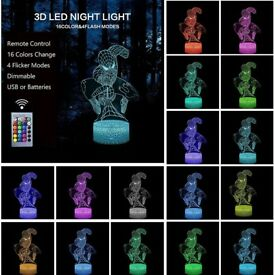 3D effect Spiderman night light with remote BNIB