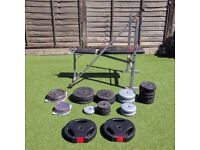 110.25kg Weightset and Adjustable Weight Bench