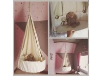 Leander hanging bassinet with mattress and canopy