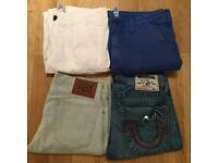 4 pairs of brand new authentic. men's True Religion denim shorts and board shorts. RRP £150 each