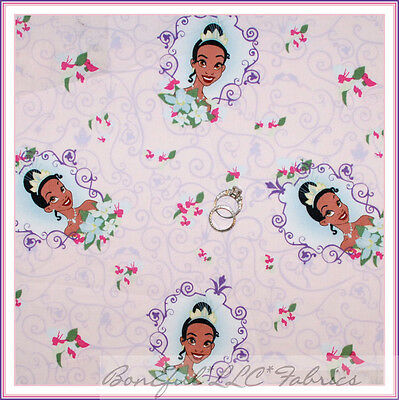 BonEful Fabric Cotton Quilt Pink Purple Disney Princess Frog Flower Dress SCRAP
