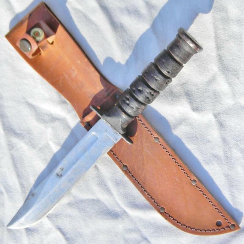 Vietnam War era Camillus MK2 Mark II US fighting knife, new leather scabbard