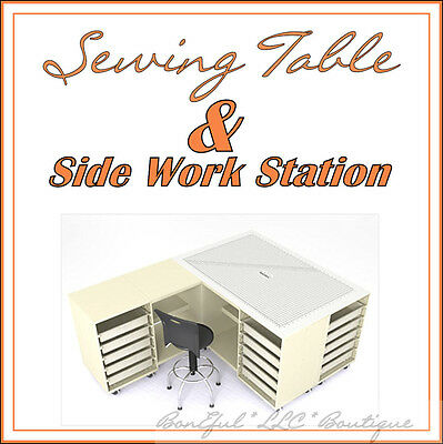 Boneful New Sewing Machine Work L Table Storage Desk Shelf Commercial Industrial