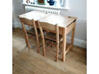 Vintage double school desk & chair. Playroom desk and chairs. Wooden chair and desk (1544)