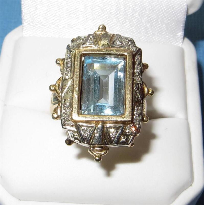 Antique 14K Gold Aquamarine Diamond Ring Art Deco Spectacular Unique Beautiful