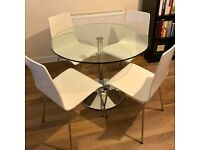John Lewis glass round table and four chairs - good as new