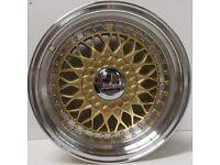 "BBS RS Grey 15"" inch Alloy Wheels 7J 8J 4x100 / 108 ET25 VW Golf Polo Fiat Audi A1 alfa bmw 3 6c8d"