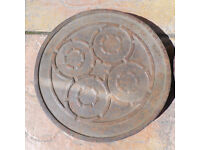Antique Garden Cast Iron Coal Hole Cover and frame , 100% original, embossed pattern