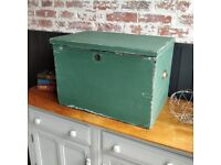 Pine trunk, painted trunk, toy box, vintage storage, playroom box, large trunk, wooden storage box