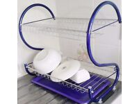2 Tier Chrome Plated Steel Purple Washing Up Dish Drainer Rack.