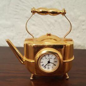 Miniature Brass coloured Kettle Clock