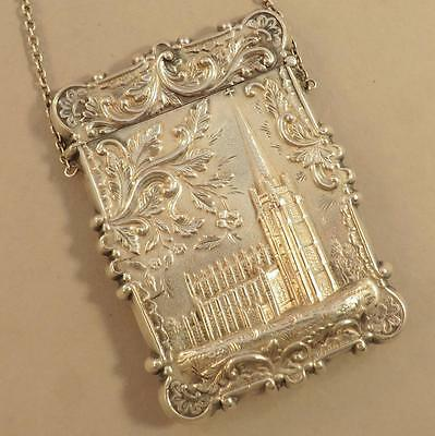 Coin Silver Leonard   Wilson Castle Top Card Case Trinity Church  Ny   Capital B