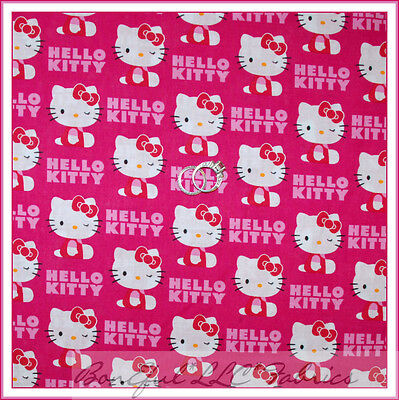 BonEful Fabric FQ Cotton Quilt Pink White Red Hello Kitty Girl Dress S Birthday for sale  Shipping to Canada