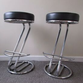 Set of 2 Zed Italian Breakfast Bar Stools Faux leather Black Dining room  furniture foam paddedOld School Lab Stools   Robin Day for Hille   in Leicester  . Old Dining Chairs Leicester. Home Design Ideas