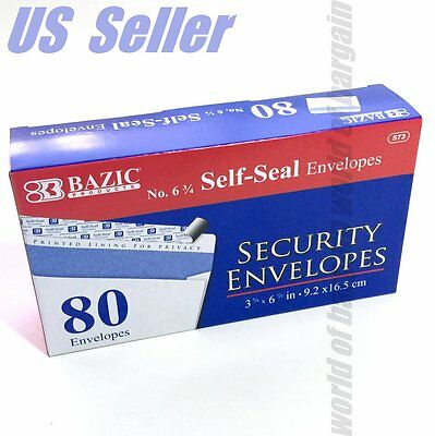 80ct SECURITY ENVELOPES 3-5/8 x 6-1/2 White Self Seal Printed Privacy Lining C42