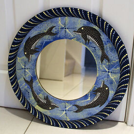 HANDCRAFTED WOODEN AND PAINTED DOLPHIN MIRROR - WALL HANGING