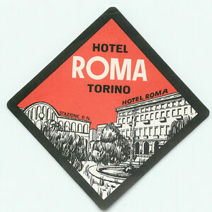 torino italy hotel roma vintage art deco luggage label ebay. Black Bedroom Furniture Sets. Home Design Ideas