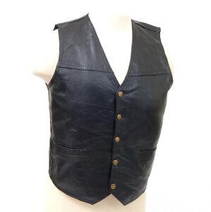 Genuine-Leather-Vest-Motorcycle-or-Dress-Inside-Chest-Pocket-2-Outside-Pockets