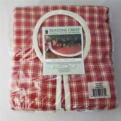 "= Seasons Crest Red Plaid Christmas Holiday Tree Skirt 48"" 42597 NEW"