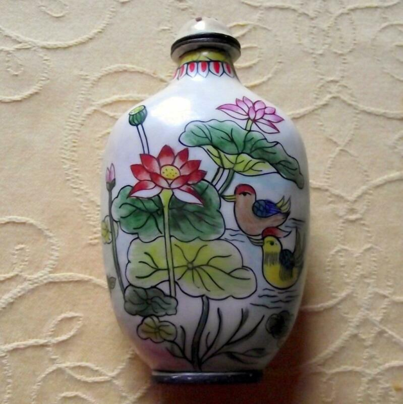 Vintage Qianlong Signed Chinese Oriental Snuff Perfume Bottle Enamel on Copper F