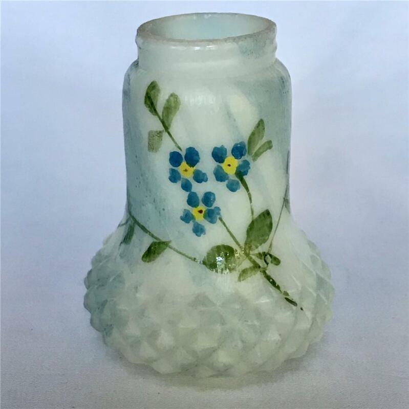 Antique White Blue Slag Glass Hand Painted Salt Shaker Possibly Mt. Washington