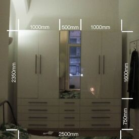 Large 3 piece gloss white wardrobe