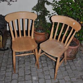 Pair of Farmhouse Pine Chairs (Chair)