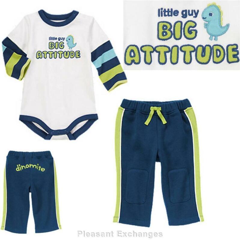 NWT Gymboree 12 18 mos BRAND NEW BABY REX 2pc Dino Little Guy Bodysuit Top Pants
