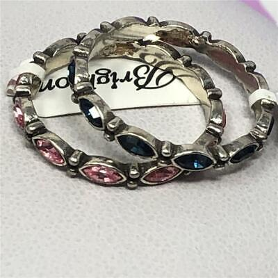 2 BRIGHTON STACKABLE SCALLOPED RING  size 9   1 pink 1 blue