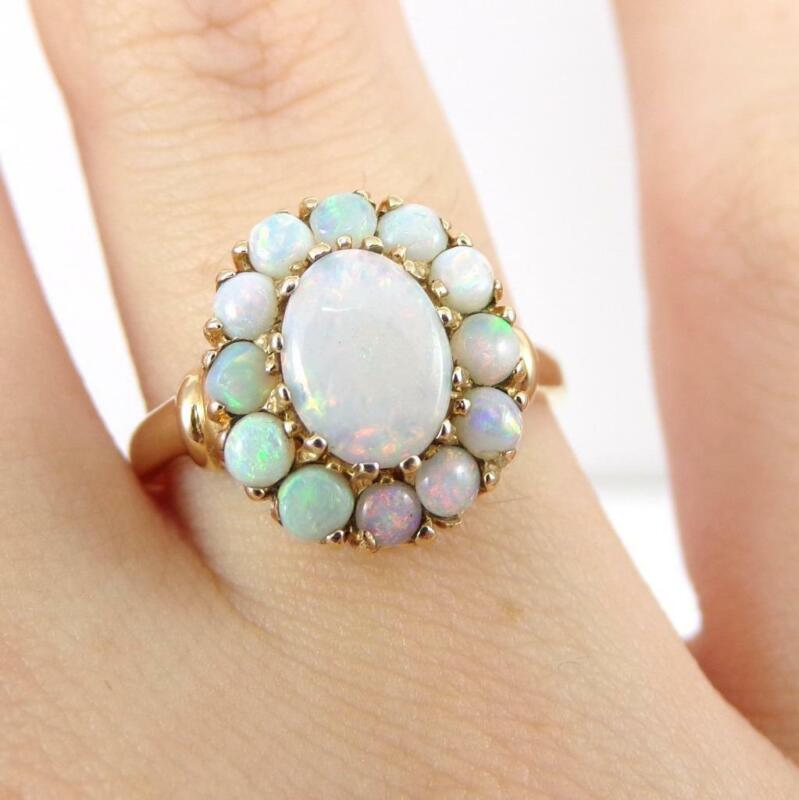Vintage Art Deco Natural Opal Halo 14K Yellow Gold Ring Size 8.5 LHJ2