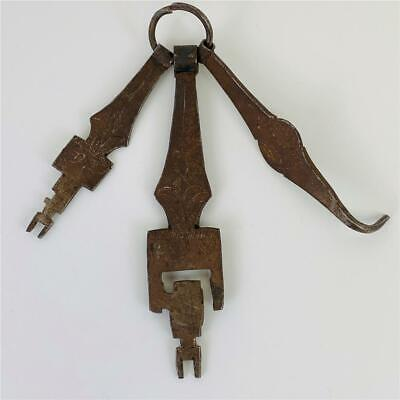 Antique Set 3 French Provincial Chateau Armoire Cast Iron Master Keys Chatelaine