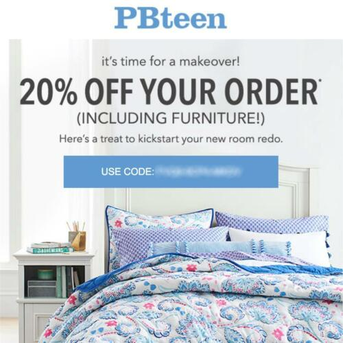 20% off POTTERY BARN TEEN promo coupon code onIine Exp 11/25/19 pbteen 10 15