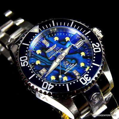 Womens Invicta Grand Diver Automatic Diamond Silver Steel Blue Abalone Watch New