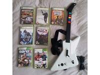 7 xbox 360 games + guitar hero controller