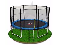 14FT Trampoline With Safety Net Enclousue Padding Ladder Rain Cover