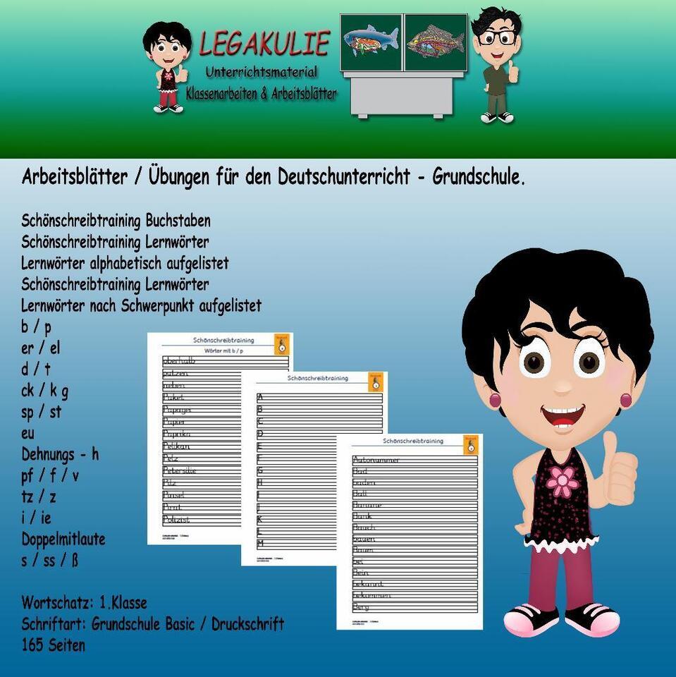 Deutsch 20.Klasse Schönschreibtraining Arbeitsblatt PDF in Bayern ...