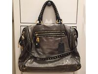 Genuine - PRADA - Grey Leather 'Craquele' Studded Tote Bag - With Dustbag