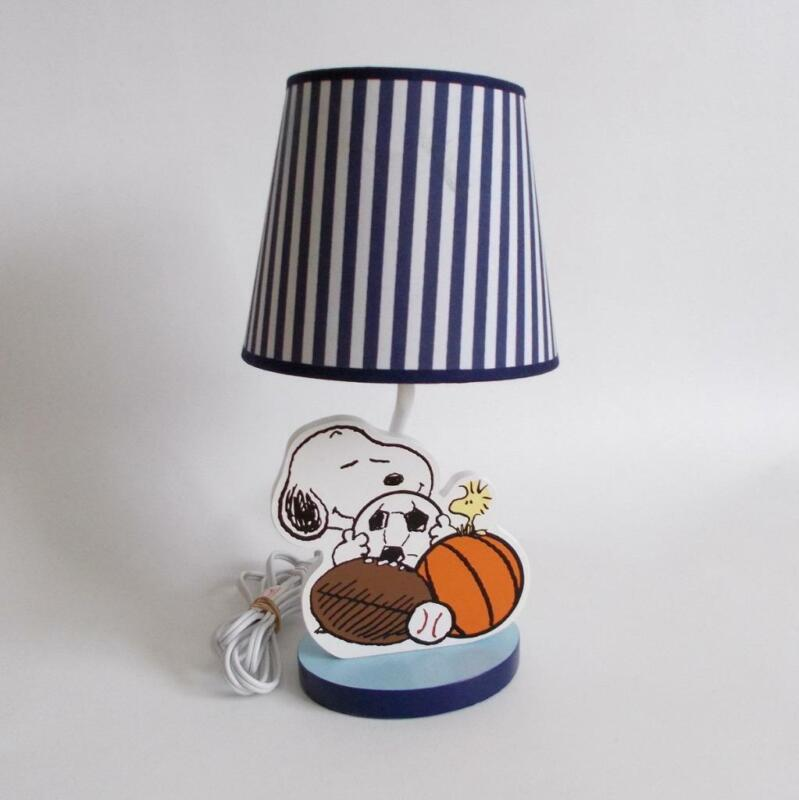 Lambs And Ivy Snoopy Lamp Sports Theme Striped Shade Light