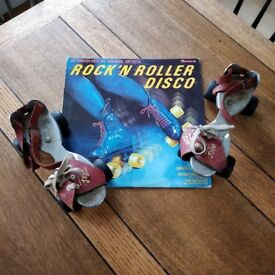 Vintage retro roller skates. Jaco roller skates. 1960/70's skates. Vinyl 1970's. Disco record.(1650)