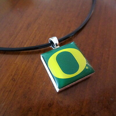 UNIVERSITY OF OREGON DUCKS O LOGO TILE CHARM PENDANT NECKLACE LifeTiles jewelry (Ducks Logo Pendant)
