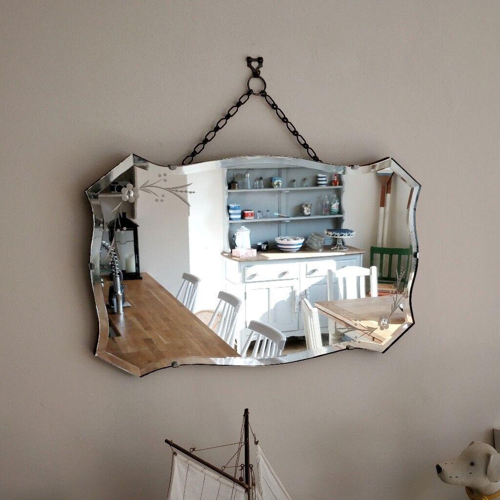 Vintage mirror antique wall bevelled art deco wall mirror