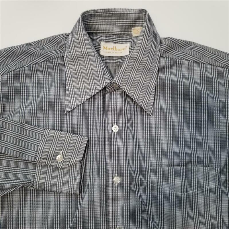 Vtg Mens MARLBORO Button Down Fitted Shirt - 15.5-33 - Blue White Disco 70s